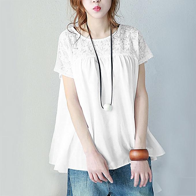 mode Meibaol store femmes Plus Taille Solid Lace mode courte-Sleeve chemisier O-Neck hauts Shirt à prix pas cher