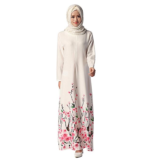Fashion (Xiuxingzi) Muslim Summer Print Elegant Big Swing Type Cherry  Long Dress à prix pas cher