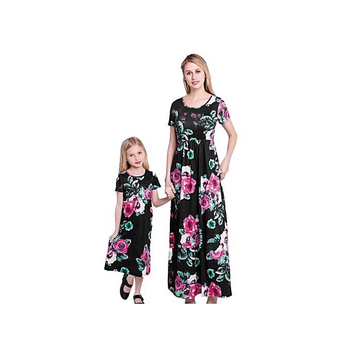 Fashion Xiuxingzi Mom&Me Lady femmes Mother Dress Floral Family Dress Sundress Clothes à prix pas cher