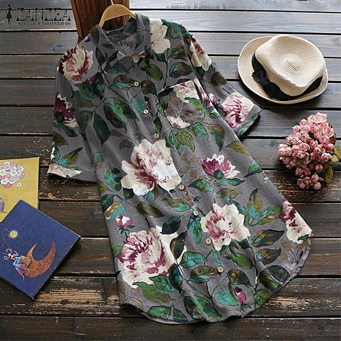 Fashion ZANZEA femmes Plus Taille Vintage Floral T Shirt Tee Top Cotton Tunic Blouse à prix pas cher
