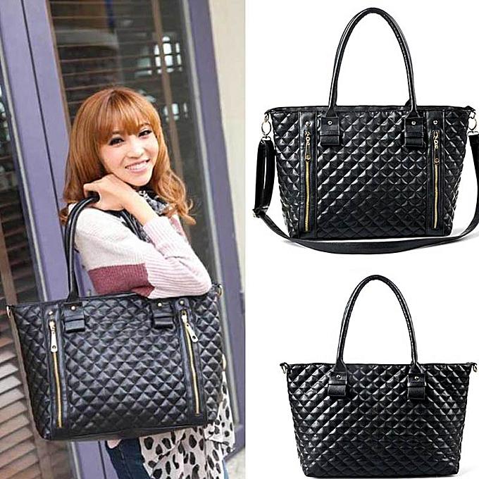 Siketu femmes Handbag Shoulder Bag Tote Case Purse Leather Messenger Wallet Hobo-noir à prix pas cher