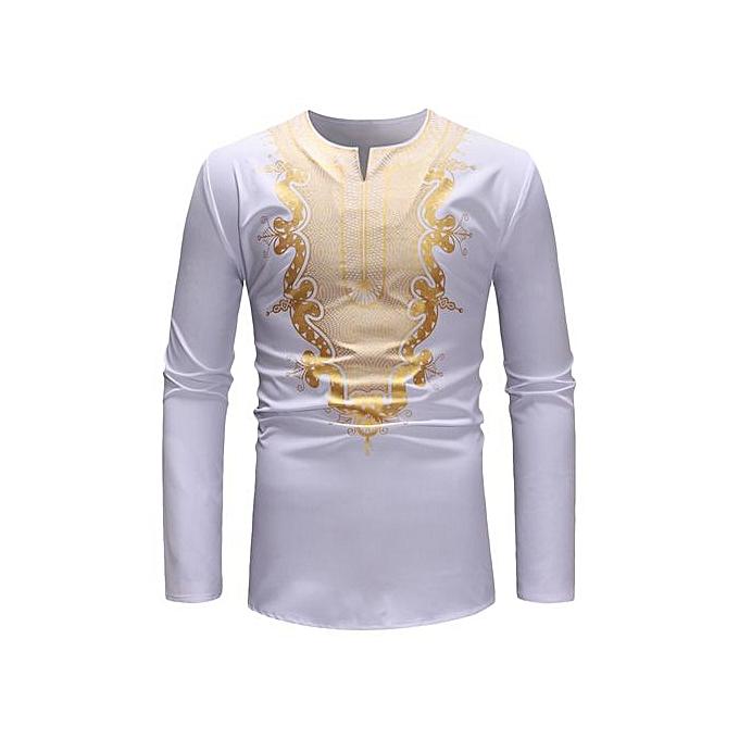 AFankara mode impression Solid Couleur manche longue Hommes T-shirt - blanc à prix pas cher