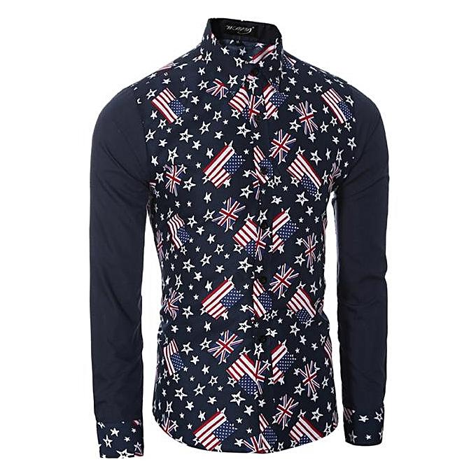 Fashion FFashion Mens Casual Shirts Long Sleeve Slim Fit Printing Tops T-shirt BU L-  bleu à prix pas cher
