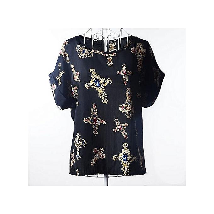 mode femmes Sexy FFaibleer Embroidery Ruffles engrener Shirts See Through  manche courte chemisier Ladies Décontracté hauts bleusas-noir à prix pas cher