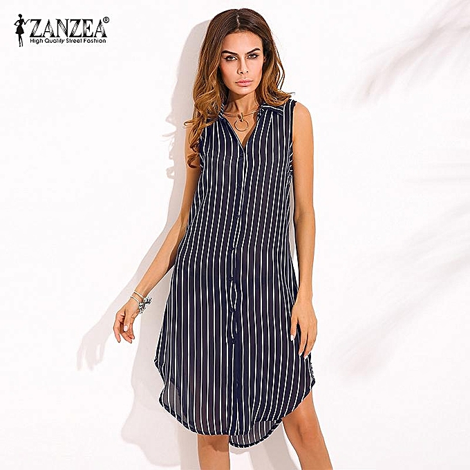 Fashion ZANZEA New Arrival Autumn Dress femmes Stripe Print Shirt Dress Ladies Lapel Sleeveless Split Hem Casual Long Tops bleu à prix pas cher