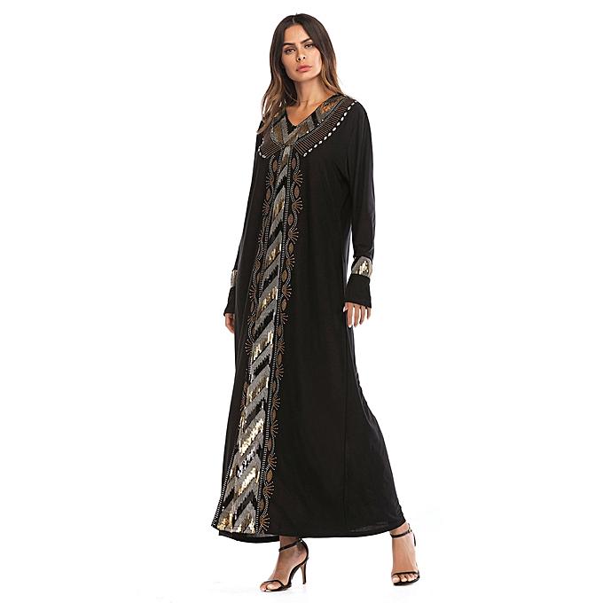 Fashion Hiamok femmes Muslim Sequin drilling Long Sleeve Dress Abaya Jilbab Dubai Kaftan Islamic à prix pas cher
