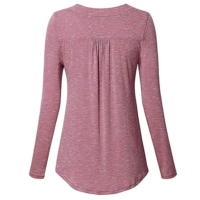 mode Hiamok femmes manche longue Solid Couleur Button Décontracté Loose hauts Tunic chemisier Shirt à prix pas cher