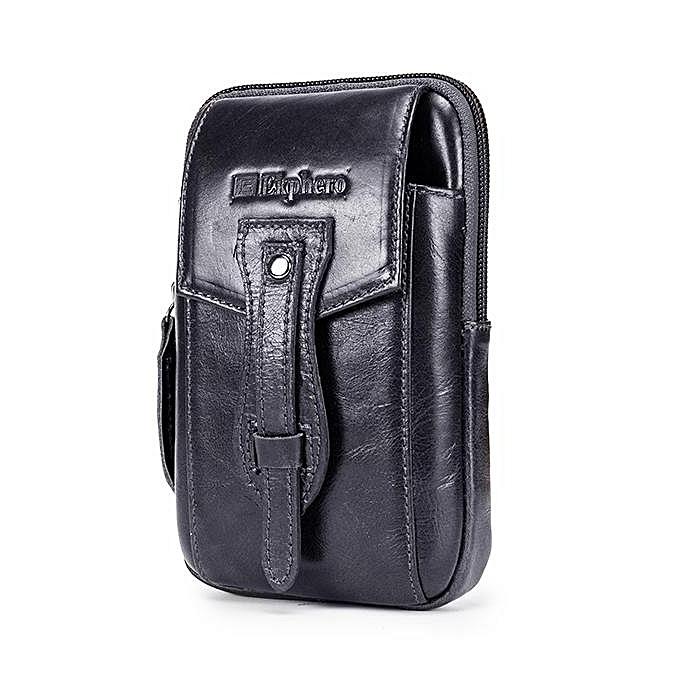 Fashion Ekphero high-grade leather hommes bag travel leisure life male pockets retro casual real leather Waist bag à prix pas cher