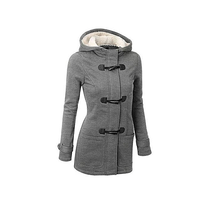 796a5beb2267 Women's Winter Classic Style Flocked Hooded Toggle Duffle Coat Jacket  Outerwear -Light Grey