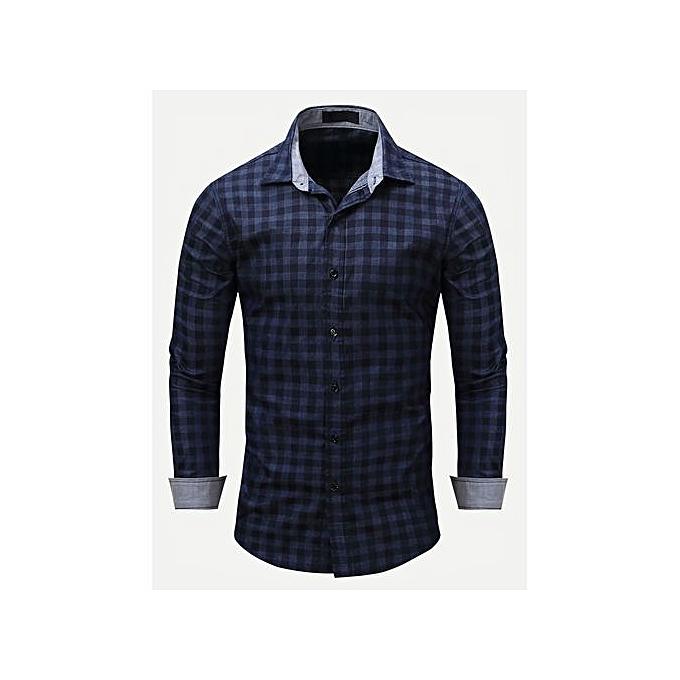 SHEIN Hommes Plaid Collar Denim Shirt à prix pas cher