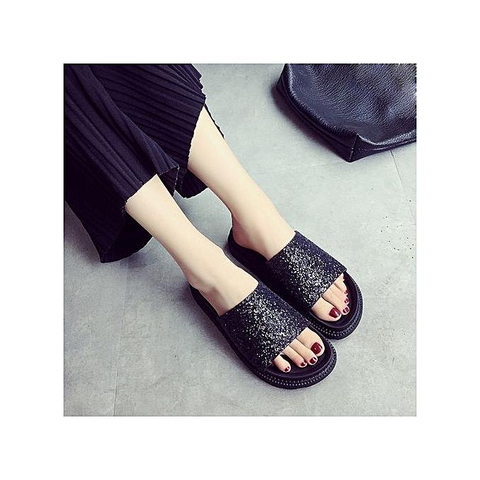 Fashion Blicool chaussures femmes Sequins Flat Non-Slip Soft Flat Slipper Flip Flop Sandal Beach chaussures BK  noir à prix pas cher