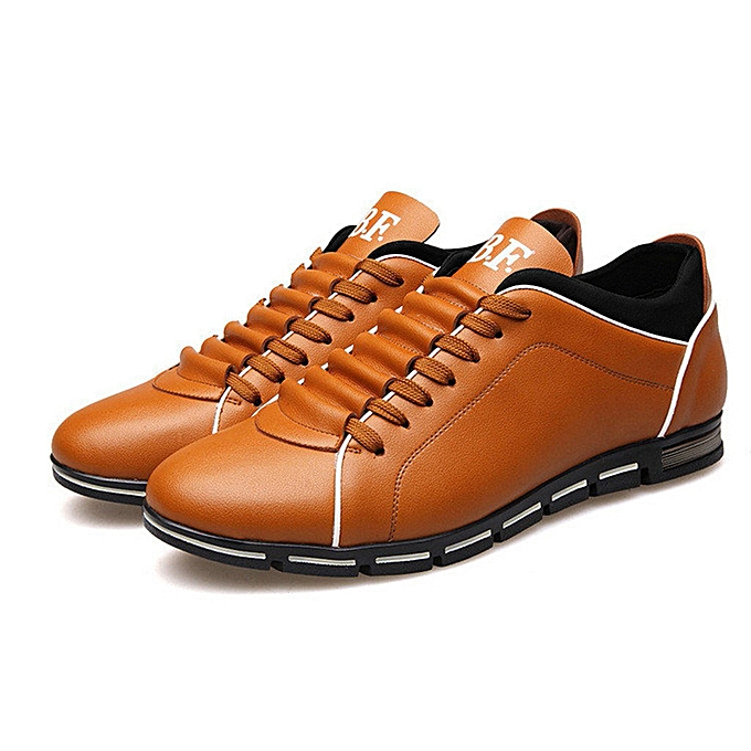 Fashion Men Fashion Solid Leather Business Sport Flat Round Toe Casual chaussures à prix pas cher