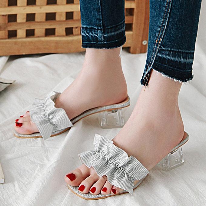Fashion jiahsyc store Wohommes Fashion Slippers High Heel Thick Heel Sandals Casual Wild Sandals à prix pas cher