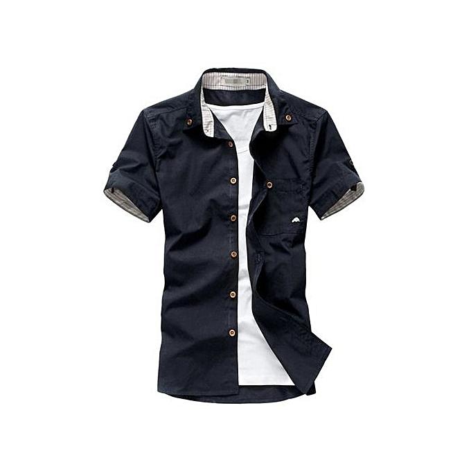 mode nouveau Brand Mushroom Embroidery Pour des hommes manche courte Décontracté Shirts mode été Cotton Shirt Hommes Social-navy bleu à prix pas cher