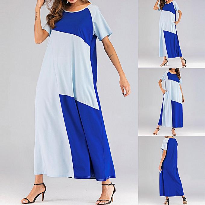 mode (Xiuxingzi) mode femmes O-Neck manche courte Couleur Block Two Pockets Muslim Long Robe à prix pas cher
