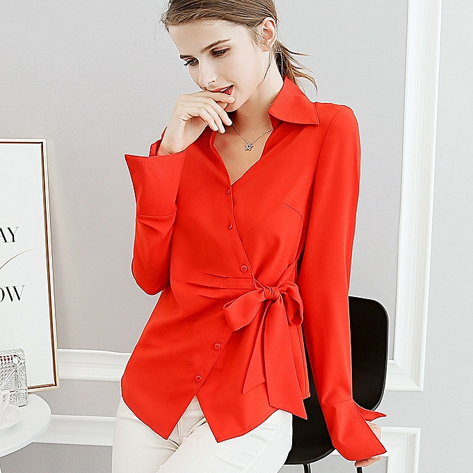 OEM New fashion wild big Taille trend is thin solid Couleur long-sleeved casual shirt-rouge à prix pas cher