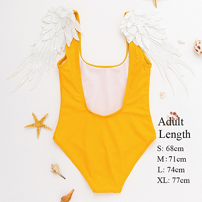 Autre Embroidery wing girls swimsuit bodysuit one-pieces backless swimwear femmes biquinis Push up brazil bikini XL(jaune) à prix pas cher