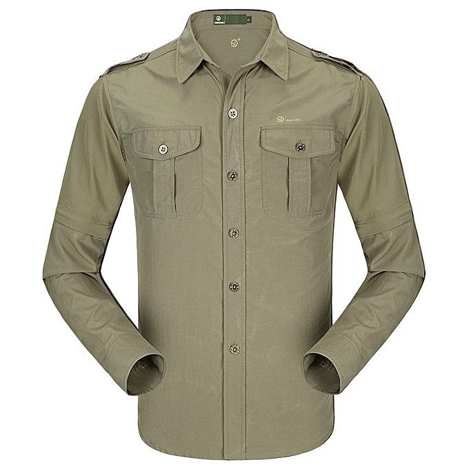 Fashion Mens Summer Thin Anti-UV Long Sleeve Detachable Outdoor Quick-drying Shirts à prix pas cher