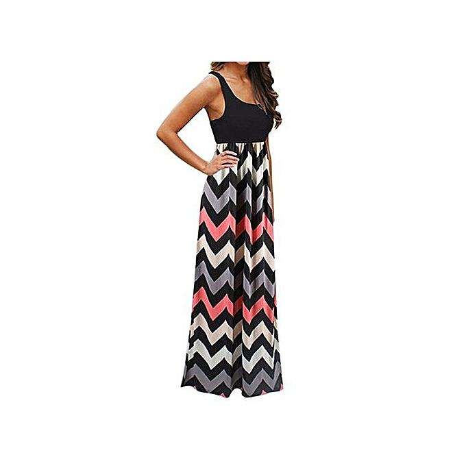 Fashion Xiuxingzi femmes Casual Sleeveless Scoop Neck Wave Striped Tank Maxi Long Dress à prix pas cher