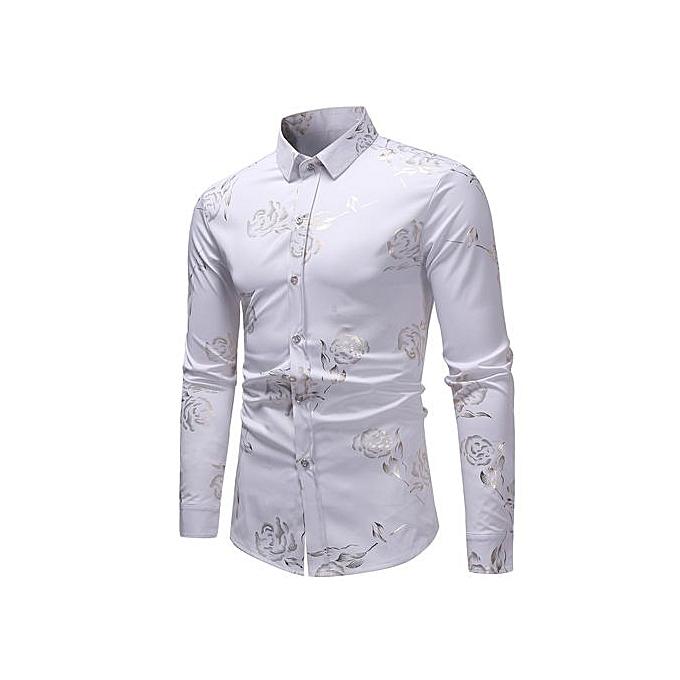 AFankara Luxury  Slim Fit Men Shirt Male Long Sleeve Shirts - blanc à prix pas cher