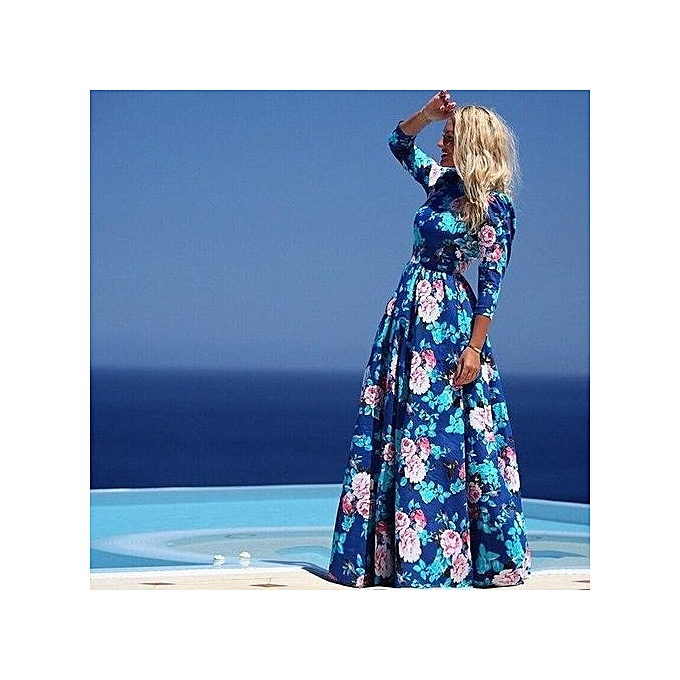 mode mode femmes été Maxi plage Robe vert O Neck Long Robes Bohemian Lantern Sleeve Boho Robe Femal Party Robe-bleu à prix pas cher