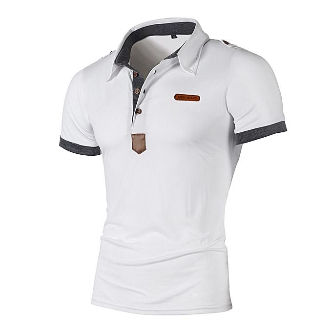 Fashion Jummoon Shop Fashion Personality Men's Casual Slim Short Sleeve Letter T Shirt Top Blouse à prix pas cher