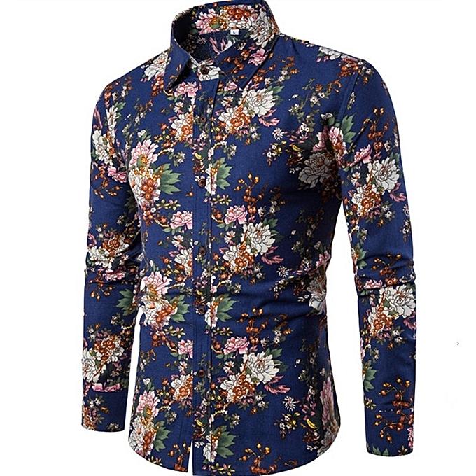 Other Stylish OverTaille Long-sleeved Printing Shirt for Men à prix pas cher