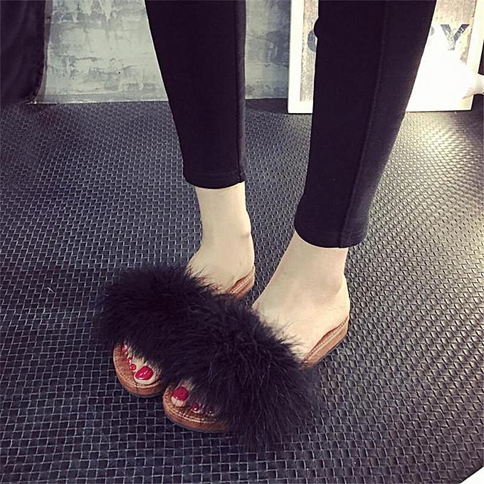 mode femmes nouveau Feather Fluffy Flats Slippers Mules Slip On Creepers Sandals chaussures noir-EU à prix pas cher