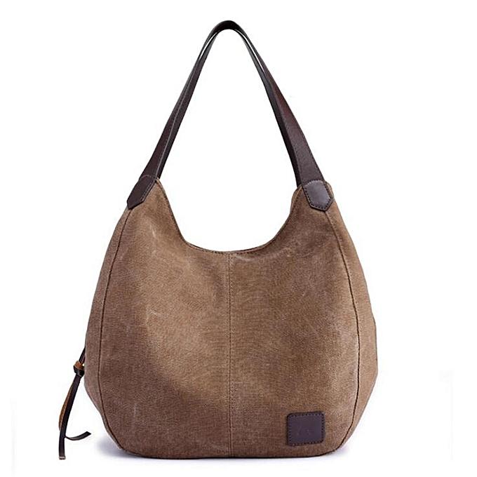 Fashion femmes Vintage Ladies Large Canvas Handbag Travel Shoulder Bag Casual Tote Purse  marron à prix pas cher
