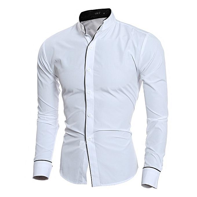 Other Trimmed Design vertical Collar Men's Casual Shirt à prix pas cher