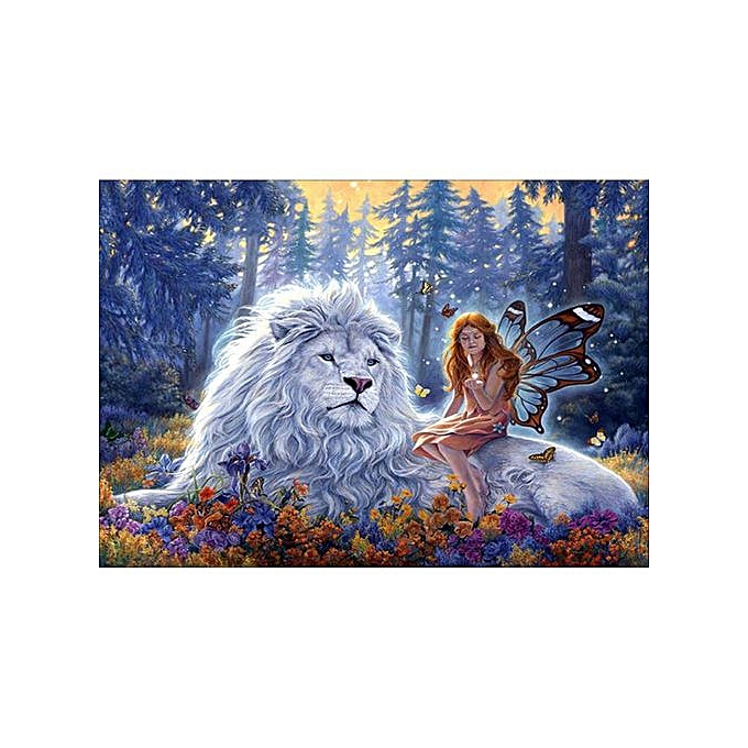 Generic 5D DIY Diamond Embroidery Angel And Lion Diamond Painting Cross Stitch Rhinestone Home Decoration Gift à prix pas cher