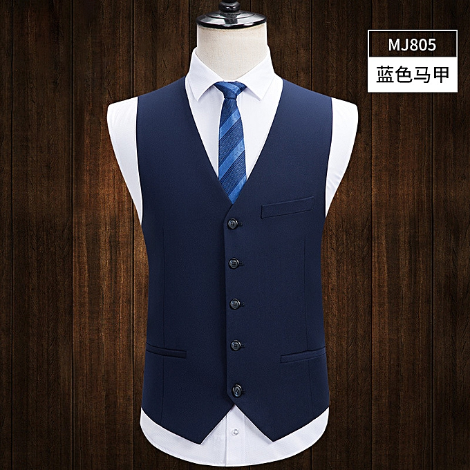 Fashion Men's suit vest vest Korean version of the self-cultivation business casual professional suit-bleu à prix pas cher