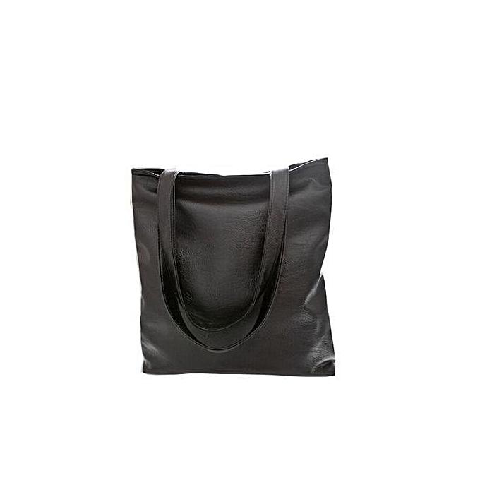 Siketu Fashion femmes Leather Shoulder Bag Large Capacity Handbag -noir à prix pas cher