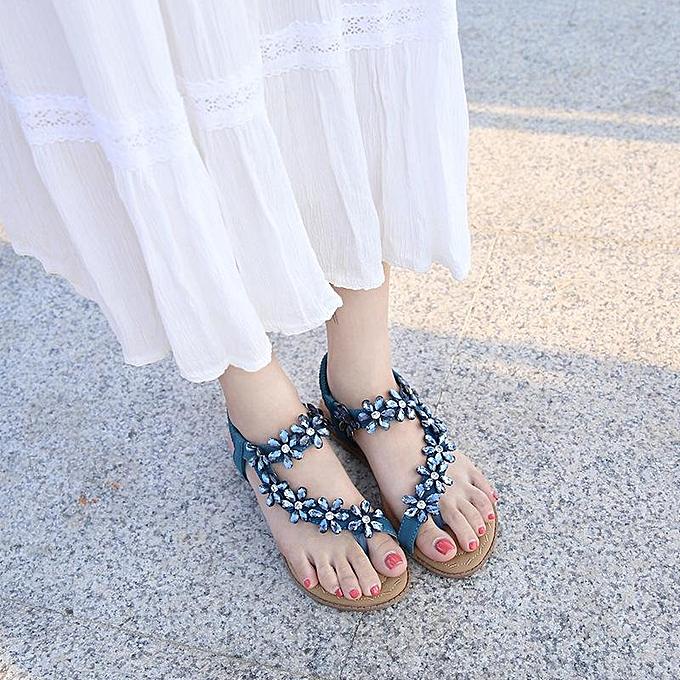 Fashion Fashion femmes Rhinestone Clip Toe Bohemia Sandals à prix pas cher