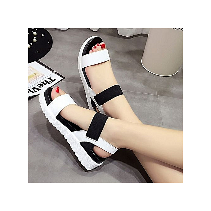 Fashion Large Taille Sandals female muffin thick-soled elastic buckle with summer femmes chaussures blanc à prix pas cher