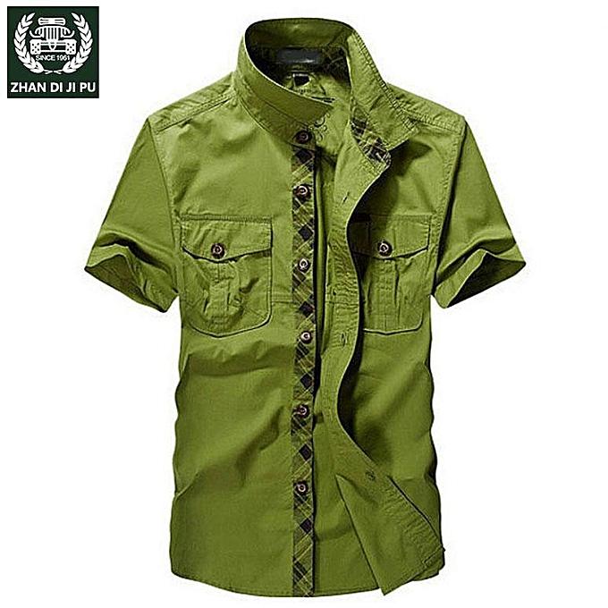 GENERAL nouveau été Cotton voiturego Décontracté Classic respirant manche courte Vintage Military Army Hommes Shirts à prix pas cher