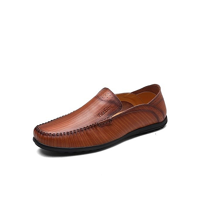 Fashion  's Leather Shoes Shoes Leather Suitable For Driving-Brown à prix pas cher  | Jumia Maroc b70084