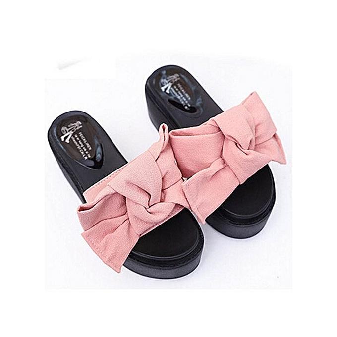 Fashion Jiahsyc Store femmes Comfy Plain Rubber Slippers Flip Flop Bow Sliders High Heel Sandals PK 37-rose à prix pas cher
