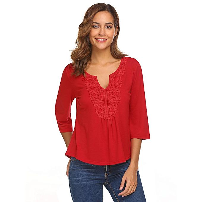 Sunshine femmes V Neck Flare Manches Dentelle Patchwork Sexy Blouse T shirt Tops à prix pas cher