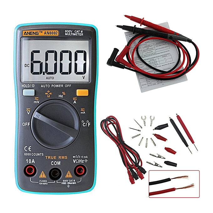 UNIVERSAL ANENG AN8002 Digital True RMS Multimeter AC DC Current Voltage Frequency Resistance Temprature Test à prix pas cher