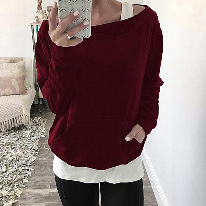 Fashion Hiamok femmes Long Sleeve Loose Kangaroo Pocket Two-Piece Blouse Top Shirt RD L à prix pas cher