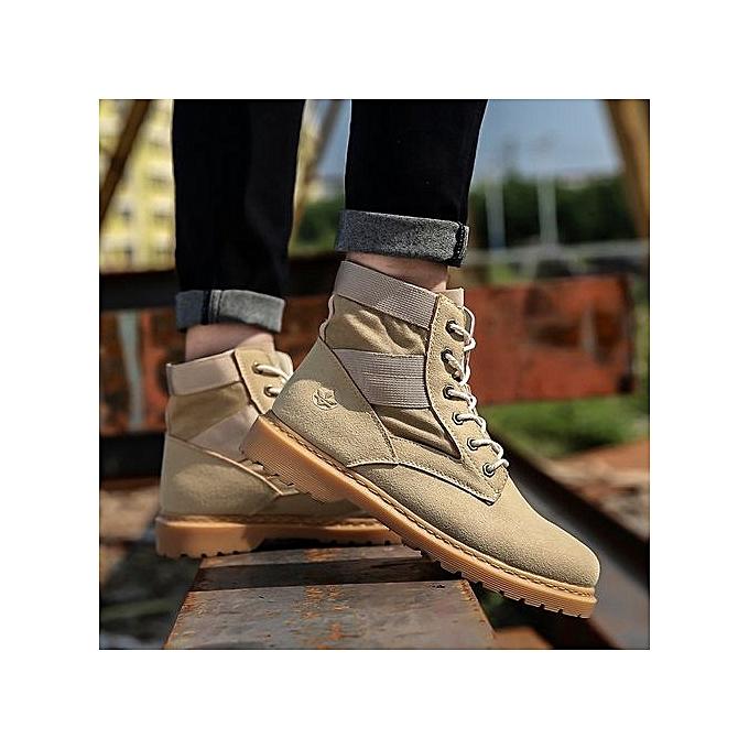 Fashion 2018 New Men bottes Fashion Ankle Lace Up noir Autumn Winter High Top Martin-khaki à prix pas cher    Jumia Maroc