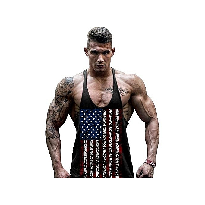 Other Hommes Sleeveless Cotton Flag Fitness Vest à prix pas cher