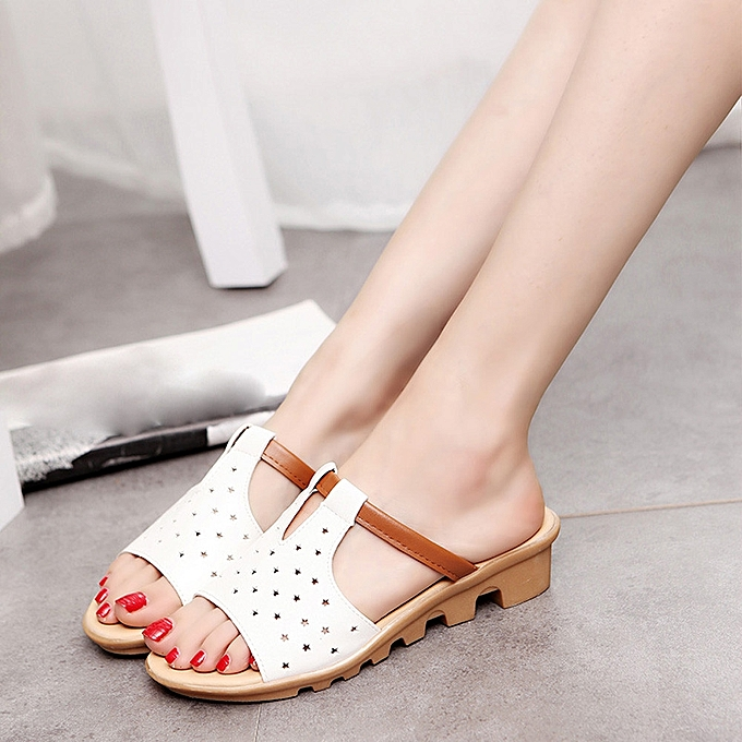 Fashion Blicool chaussures femmes Summer Female Sandals Fashion Solid Beach Slides Slippers chaussures WH  blanc à prix pas cher