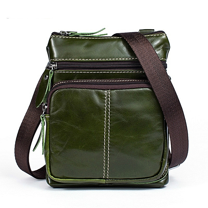 Other Small Messenger Bag Men Shoulder bag  Leather Zipper Pocket Crossbody bags for Messenger men Leather bags Handbags STM701(vert) à prix pas cher