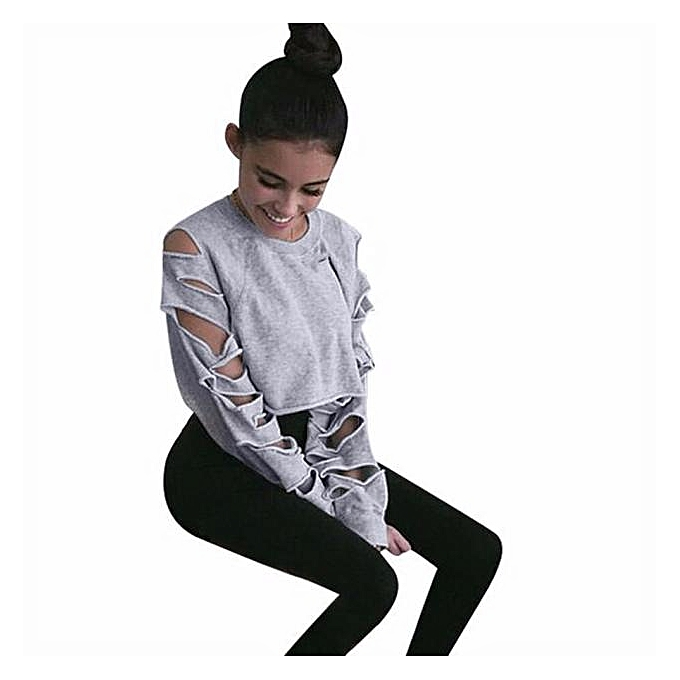 mode (Xiuxingzi) femmes manche longue HolFaible Hole courte chandail Shirt chemisier hauts GY L à prix pas cher