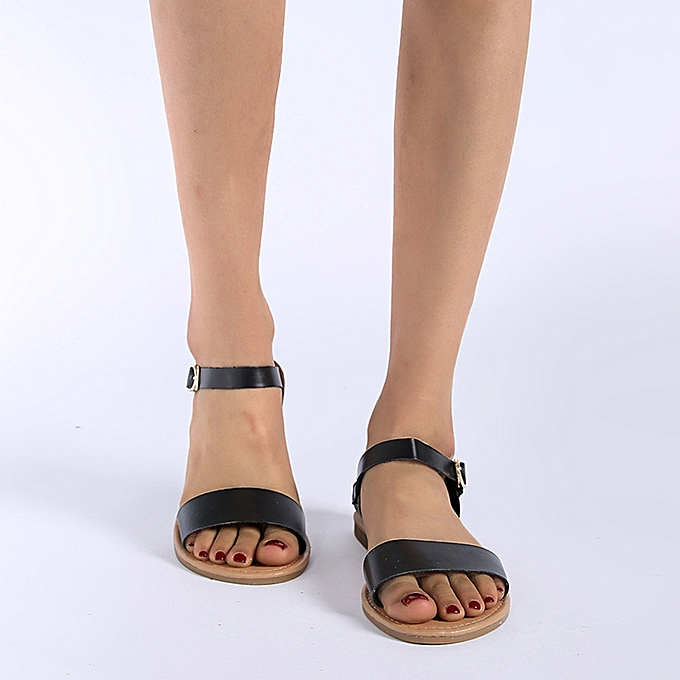 Fashion jiahsyc store Summer Wohommes Ladies Roma Flat Solid Peep Toe Sandals Casual chaussures à prix pas cher    Jumia Maroc