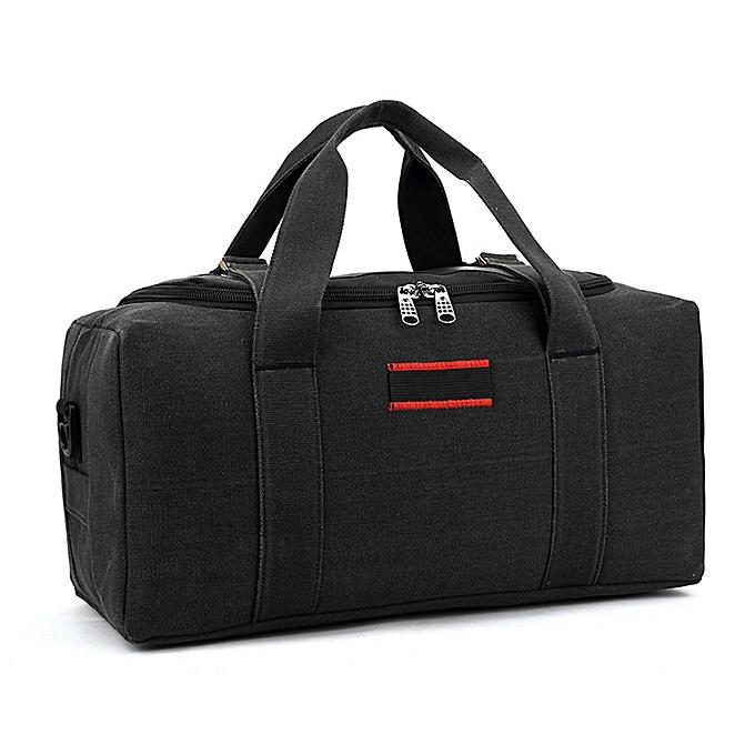 Other Men femmes Sports Handbag Rucksack Large Capacity Pack Fitness Handheld Camping Waterproof Duffle Gym Outdoor Travel Bag Canvas(noir) à prix pas cher