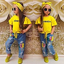 ebfc28c4c Fashion Girls' Suit Letters Yellow Trumpet Sleeves + Pearls Jeans +  Head Wear
