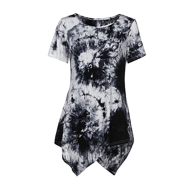Generic Generic femmes& 039;s Décontracté T-shirt O-neck chemisier Ptinted manche courte Irregular hauts  Plus  A1 à prix pas cher